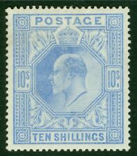 SG 265 10/- deep ultramarine. A pristine very lightly mounted mint example...