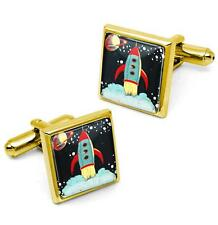 Retro Rocket Ship Vintage Sci-fi Outer Space Gold Cufflink Set w/ Box