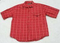 Large Great Northwest Pocket Dress Shirt Button Up Short Sleeve Man's Red White