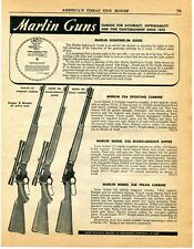 1958 Print Ad of Marlin Model 336 Sporting & Texan Lever Action Carbine Rifle