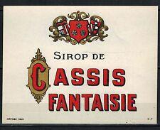 Etiquette -Sirop de Cassis fantaisie -Blason - New - Never Stuck - Réf.n°99b