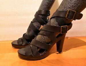 Sandales cuir noir MELLOW YELLOW taille 37 TRES BONNE ETAT (minelli, bocage)