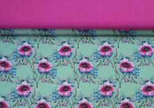 (EUR 18,90/m) Stoffpaket Jersey Blumen Digitalprint Grün 2x0,50m=1,00m (Art1787)