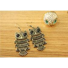 1 Pair Retro Vintage Bronze Owl Pendant Drop Dangle Ear Hook Earrings Jewlery