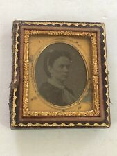ANTIQUE Miniature TIN TYPE PICTURE WITH FRAME