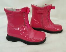 EXC L'AMOUR Hot Pink Patent Leather Boots 12 11 31 30 Ribbon Laces Shoes LAMOUR