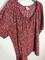 Faded Glory Dark Red Peasant Blouse Knit Boho Top Short Sleeves Plus Sz 4X