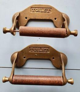 2 Brass Toilet Roll Holders