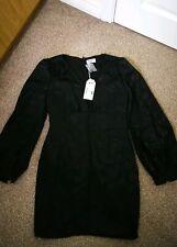 New Daniry Paris Womens Midi Dress Size 16 Black Blouson Sleeve Pencil V Neck T