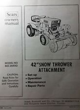 "Sears Suburban GT Garden Tractor 42"" Snow Thrower Implement Owner & Parts Manual"