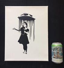 Banksy Original Spray On Canvas Dismaland  W/ COA-Umbrella Girl - NOLA Girl -COA