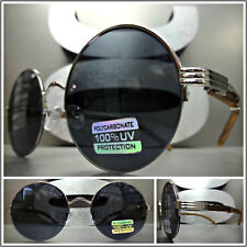 41b44fb90a CLASSY VINTAGE RETRO Style SUN GLASSES Round Silver Wood Wooden Frame Dark  Lens