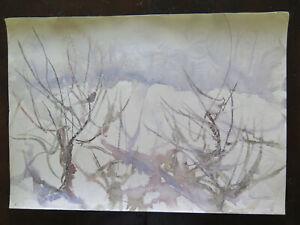 50x36 cm FREDDO PAESAGGIO INVERNALE QUADRO DIPINTO VINTAGE TECNICA DEL GELO P14
