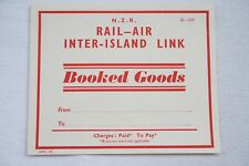 c1940s NZR Rail Air Inter Island Link Railway Luggage Label New Zealand