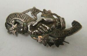 Antique Victorian Sterling Silver Brooch P&T Birmingham Seasons Greetings - C3