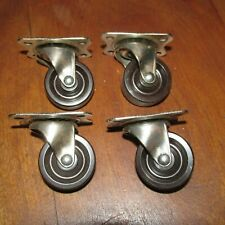 4 Matching Steel Furniture Casters 1 1/2 Inch Plastic Wheels