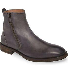 John Varvatos Star USA Mitchell Zip Men Ankle Boot Size US 13 Smoke Grey Leather