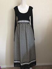 Vintage Women's 60's 70's Bonwit Teller Black Cream Long Sleeve Maxi Dress