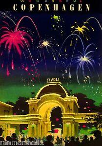 Copenhagen Denmark Tivoli Gardens Scandinavia Travel Advertisement Art Poster
