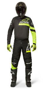 NEW ALPINESTARS 2022 FLUID CHASER RACE KIT SUIT BLACK YELLOW FLUO MX MOTOCROSS