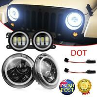 7'' LED Headlights Hi-Low DRL Angle Eyes+4'' Halo Fog Light for Jeep Wrangler JK