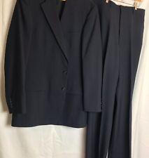 Turnbury Suit Mens 44L 38x32 Navy Flat Front Wool Blend Vintage Bespoke Coll.
