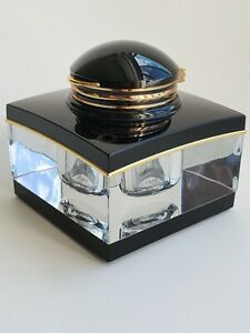 Montblanc Black & Gold Crystal Inkwell Tintenglas  w/ Removable Glass Reservoir