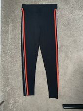 Fab Pair Of Topshop Black Leggings With Red And White Stripe Size 10