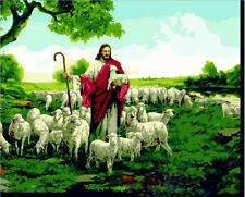 "DIY Acrylic Paint By Number 16X20"" kit Oil Painting On Canvas Jesus' sheep 081"