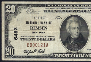 NY 1929 $20 ♚♚REMSEN, NEW YORK♚♚  PCGS VERY FINE 20 HARD TO FIND!!!