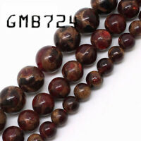 Natural Red Cloisonne Stone Round Loose Beads For Jewelry Making 6 8 10mm 15''