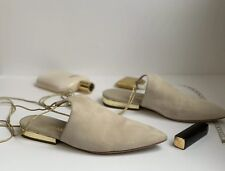4fad1f07e0cc Chanel Tan Suede Pointed Toe Ankle Wrap Mules
