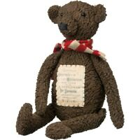 """Primitive Brown Christmas Bear w/ Scarf Holiday Label 19"""""""