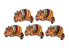 Orange Smiling Cheshire Cat Embroidered Iron-On Patch (Set of 5)
