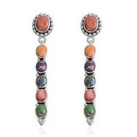 Southwest Jewelry 925 Sterling Silver Turquoise Dangle Drop Earrings for Women