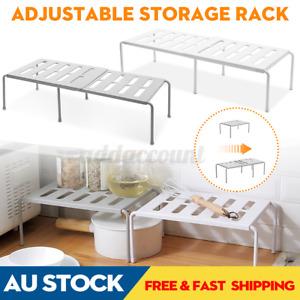 Adjustable Cupboard Storage Shelf Organiser Holder Pantry Stand Rack Kitchen