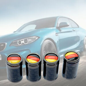 Real Carbon Fiber Black Chrome Alloy tire air valve stem caps German Flag KH