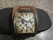GUESS Men's U95013G2 Multi-Function Watch with Brown Leather Cuff Strap