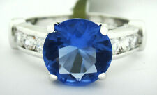 AAA Quality  4.37 Cts TANZANITE & WHITE SAPPHIRE RING Silver Plated - Size 6.75