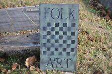Ex Lg Handmade Sage Green Wood Sign Folk Art Game Board Country Primitive Rustic