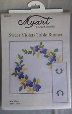 Sweet Violets traced linen table runner by Myart 40 x 100cm in 100% cotton