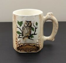 Vintage California Owl Embossed Textured Coffee Mug Cup Treasure Craft - DAMAGED