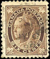 1897 Used Canada 6c F+ Scott #71 Queen Victoria Maple Leaf Stamp