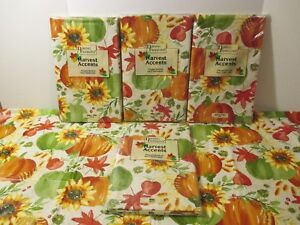 NIP Thanksgiving Fall Pumpkin Vinyl Flannel Backed Kitchen Party Tablecloth