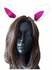 Funny Bunny Rabbit Faux Fur Ears Animal Halloween Costume Accessory White Pink