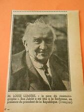 M. Louis Lumière le père du cinématographe Print 1938