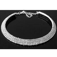 Diamante Crystal Diamond Rhinestone Necklace Choker Silver Wedding Party Chain D
