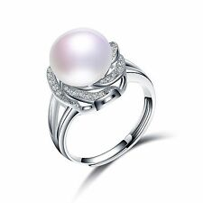 Sterling Silver Ring Adjustable With Natural Pearl - White