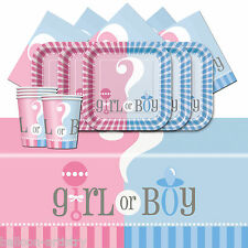 BOY o GIRL Baby Shower genere scanalatura partito COMPLETA Stoviglie Pack per 8