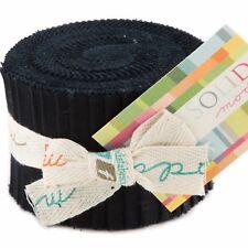 "Moda Bella Solids Black Junior Jelly Roll 20 2.5"" x 42"" Fabric Strips 9900JJR-99"